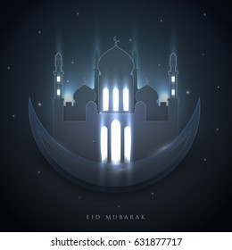 Islamic beautiful design template. Mosque with mysterious light on black background in paper cut style. Ramadan kareem greeting card, banner, cover or poster. Vector illustration. EPS 10.