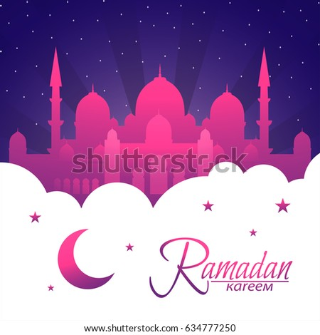 islamic beautiful design template mosque with light ramadan kareem greeting card banner