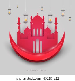 Islamic beautiful design template. Red mosque with moon and lanterns on white background in paper cut style. Ramadan kareem greeting card, banner, cover or poster. Vector illustration. EPS 10.