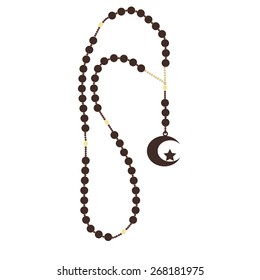 Islamic brown rosary beads with star and moon vector isolated, turkish rosary beads