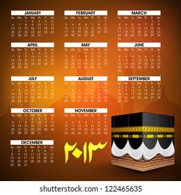 Islamic Calender 2013. EPS 10.