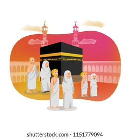 Islamic Card Greeting Illustration Hajj Muslim Pilgrimage