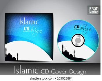 Islamic CD cover design with Mosque or Masjid silhouette with abstract wave pattern in blue color. EPS 10. Vector illustration.