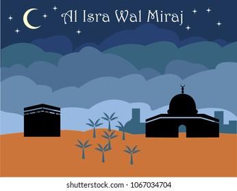 Islamic celebration Isra Wal Miraj concept art.  Editable Clip Art.
