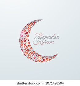 Islamic crescent moon with brilliant crystals and girih traditional arabic pattern. Vector muslim religion illustration. Ramadan Kareem. Islamic holiday poster design