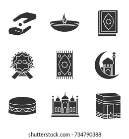 Islamic culture glyph icons set. Zakat, oil lamp, quran book, daf, praying mat, mosque and crescent moon, kaaba. Silhouette symbols. Vector isolated illustration