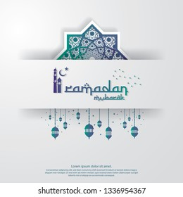 islamic design concept. abstract mandala with pattern ornament and lantern element. Ramadan Kareem or Eid Mubarak greeting. invitation Banner or Card Background Vector illustration.