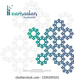 islamic design concept. Ramadan Kareem or Eid Mubarak greeting with abstract mandala element with pattern ornament background for invitation Banner or Card. Vector illustration