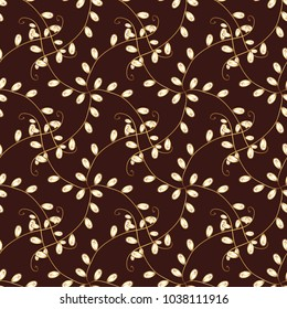 Islamic design. Floral tiles. Golden pattern on brown, white and yellow colors with golden elements. Seamless pattern oriental ornament. Vector golden textile print.