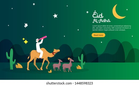islamic design illustration concept for Happy eid al adha or sacrifice celebration event with people character for web landing page, banner, presentation, poster, ad, promotion or print media