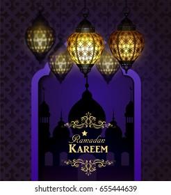 Islamic design mosque door and moroccan lanterns lanterns greeting background in blue Ramadan Kareem vector