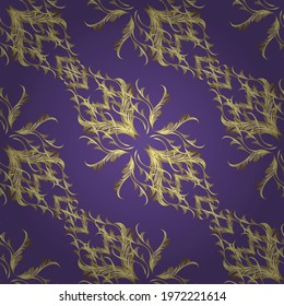 Islamic design. Vector golden textile print. Floral tiles. Pattern oriental ornament. Golden pattern on yellow, violet and neutral colors with golden elements. - Shutterstock ID 1972221614