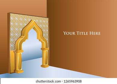 Islamic door islamic interior with lantern and ornament illustration. Vector editable.