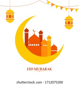 Islamic festival Eid Mubarak concept with crescent moon, colorful mosque, hanging lanterns on white background.