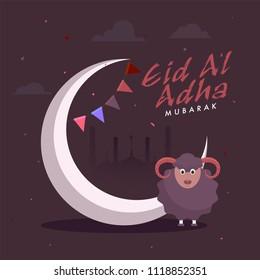 Islamic festival of sacrifice, Eid-Al-Adha Mubarak celebration concept with sheep, crescent moon, mosque on burgundy color background.