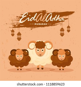 Islamic festival of sacrifice, Eid-Al-Adha vintage paper style concept with illustration of sheeps, hanging lanterns on brown background.