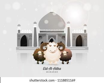 Islamic festival of sacrifice with happy sheeps, glossy grey mosque for Muslim community festival of sacrifice, Eid-Al-Adha Mubarak celebration background.
