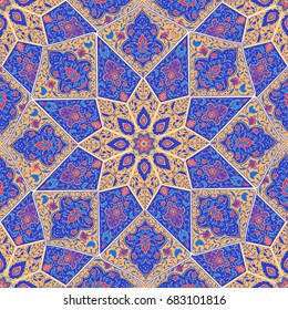 Islamic floral pattern in Victorian style. Arabic geometric ornament round ornament mandala. Card for cafe, restaurant, shop, print,  banner, wedding invitation. Save the date