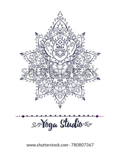 islamic floral yoga studio in victorian style arabic geometric ornament round eastern style card