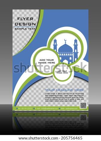 islamic flyer brochure cover design mosque stock vector royalty