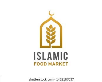 Islamic food market logo symbol or icon template