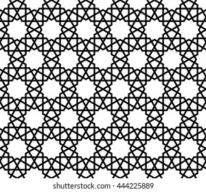Islamic geometric art, monochrome arabic pattern, arabesque background
