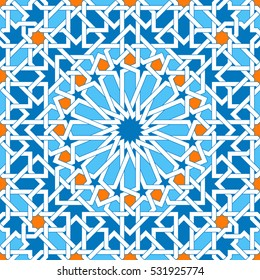 Islamic geometric ornaments based on traditional arabic art. Oriental seamless pattern. Muslim mosaic. Colorful vector illustration. Blue, white and yellow arabian tile. Mosque decoration element