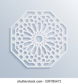 Islamic geometric pattern. Vector muslim mosaic, persian motif. Elegant white oriental ornament traditional arabic art. Mosque decoration element. 3D mandala for brochures, invitations, greeting card