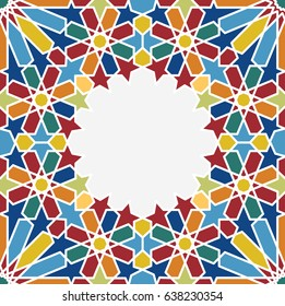 Islamic geometrical pattern, moroccan tile background. Arabesque frame, vector islam art.