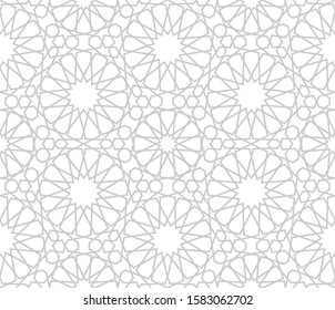 Islamic geometry. Zellige seamless pattern. Arabic background. Vector texture.