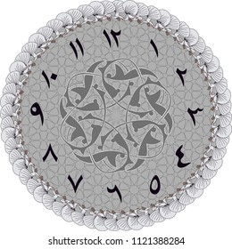 An Islamic graphic designed to make a wall clock. The vector graphics operation can be used perfectly in a larger way. If desired, the time digits can be removed and used as a table.
