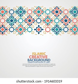 Islamic greeting card banner background with ornamental colorful detail of floral mosaic islamic art ornament.Vector illustration.