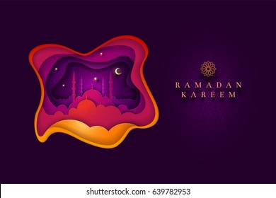 Islamic greeting card design. Ideal for Ramadan. Paper art style vector illustration. Elements are layered separately in vector file.