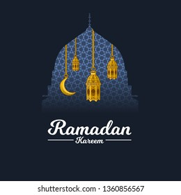 Islamic Greeting Card Design, Ramadan Kareem with Crescent Moon and lantern on The Geometry Background, Clipping Mask with Prophet Muhammad's Mosque Dome, Negative Space Design, Vector Illustration.