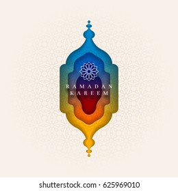 Islamic greeting card design for Ramadan. Paper art style vector illustration. Elements are layered separately in vector file.