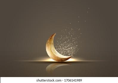 islamic greeting ramadan kareem card design background with crescent moon