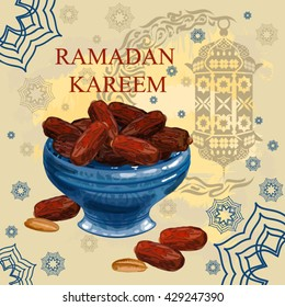 Islamic holy month of prayers. Ramadan Kareem. Iftar. Suhoor. Lenten meal. Delicious dates on the plate.