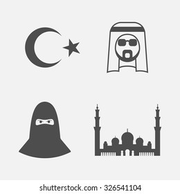 Islamic Icon. Arabic icons