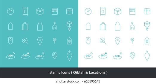 Islamic Icons ( Set Qibla )
