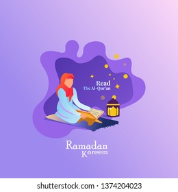 Islamic Illustration With Women Read The Holy Qur'an For Greeting Post