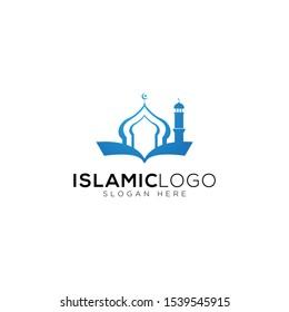 Islamic Knowledge Book With Mosque Logo Template, Design Vector, Emblem, Concept Design, Creative Symbol, Icon