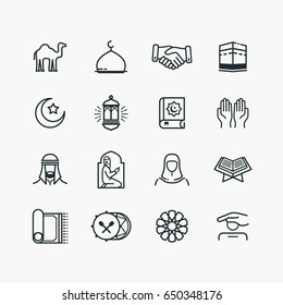 Islamic Line Art Icons Set. Ramadan Kareem Line Vector Icons.