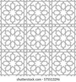 Фотообои Islamic line pattern. Seamless vector geometric linear background in arabian style