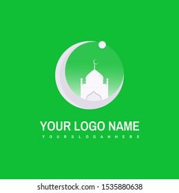 Islamic Logo Design Vector. Mosque Logo Template. Muslims Learn Logo Templates