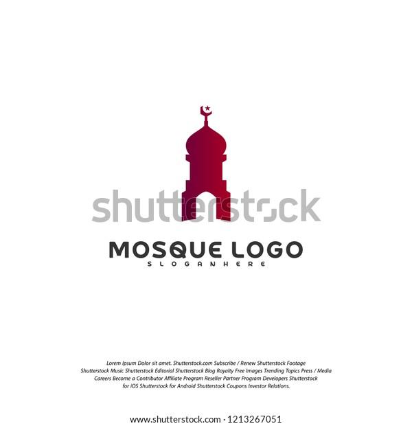 Islamic Logo Design Vector Mosque Logo Stock Vector (Royalty