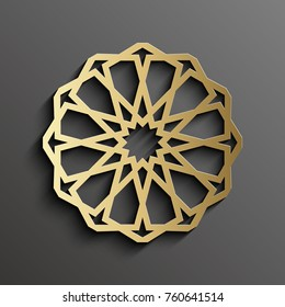 Islamic mandala 3d gold background on dark round ornament. Architecture muslim texture . Brochures invitation ,persian motif design.
