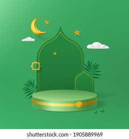 Islamic minimal cylinder podium in green background with leaf, golden Crescent moon, stars. Product presentation, show cosmetic product, Podium, base, display, stage pedestal or platform for ramadan.