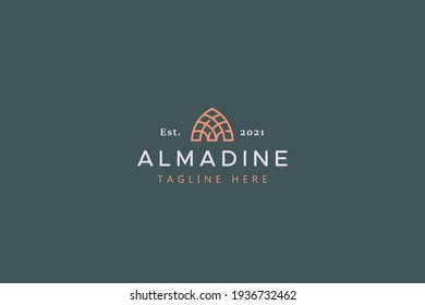 Islamic Monogram Logo Vector Template. Abstract Dome or Mihrab Shape Part Of Mosque. Letter M Or A Brand Identity Concept.