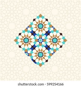 Islamic mosaic ornament, abstract geometric background