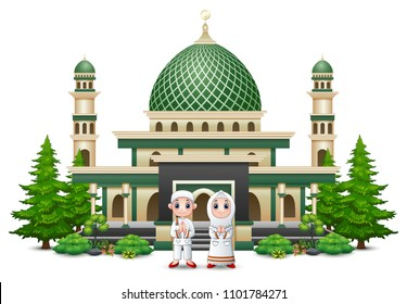Islamic mosque building with green plant